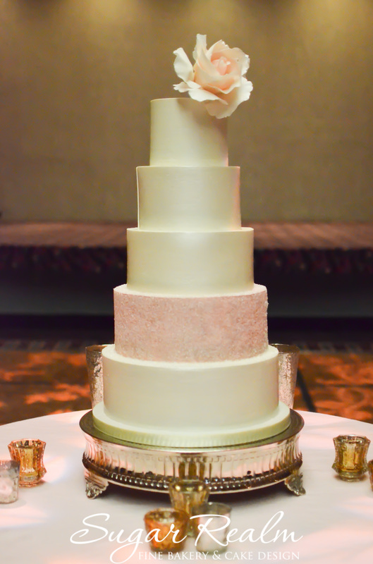 Wedding Cakes Cincinnati Pink Gold Crystals Wedding Cake